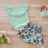 Baby Off Shoulder Top and Floral Print Shorts Set