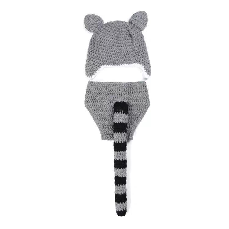 Raccoon photography props hat and pants set