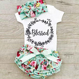 Baby/Toddler Girl's Letter Bodysuit, Flower Headband and Shorts