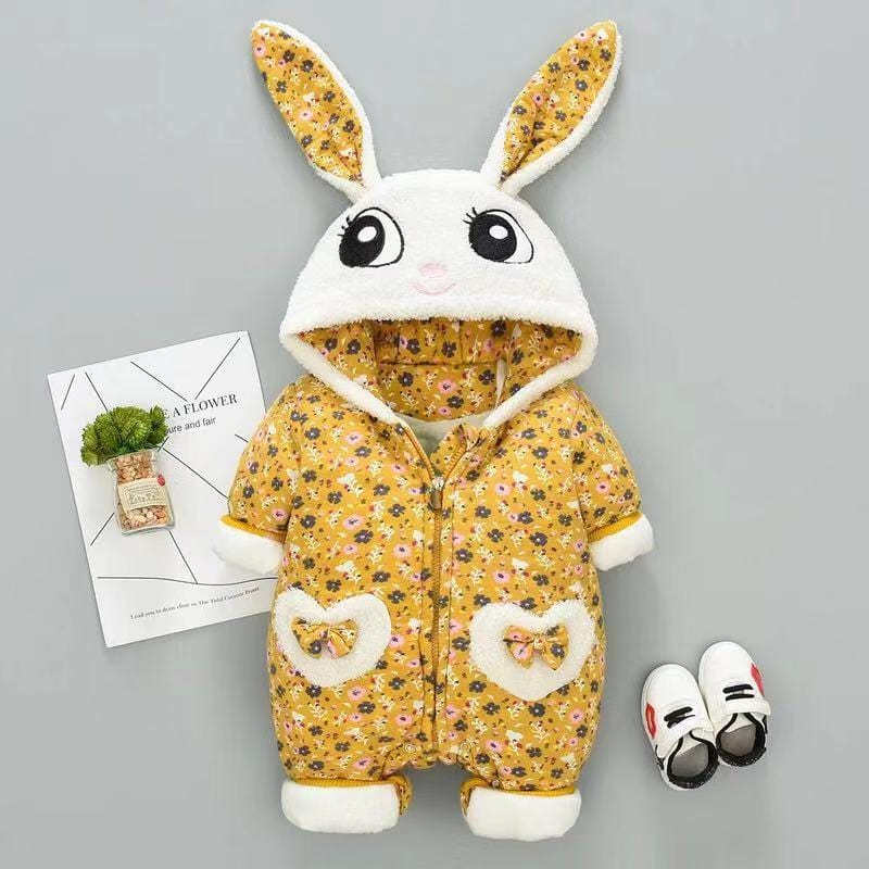 Cute rabbit baby long sleeve plus velvet jumpsuit