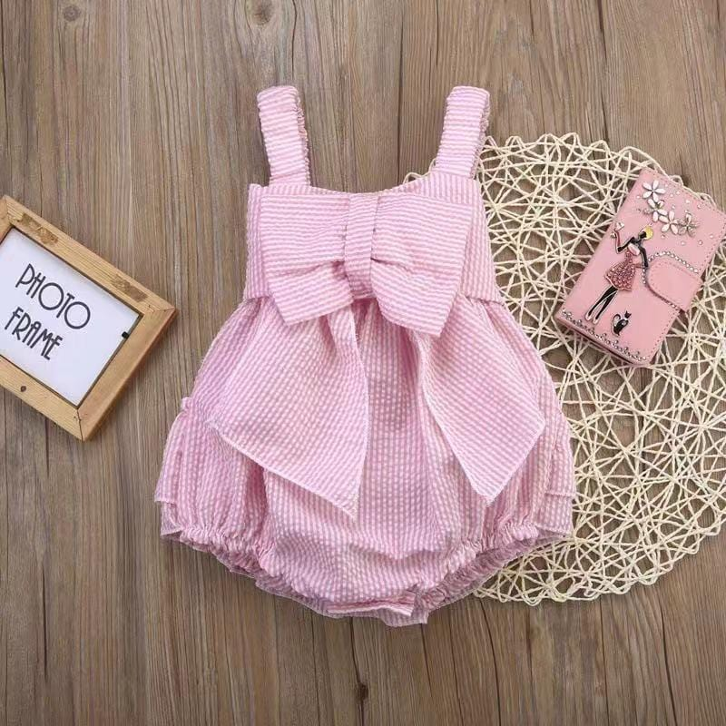 Baby Stripe Bow Cake Dress Bodysuit