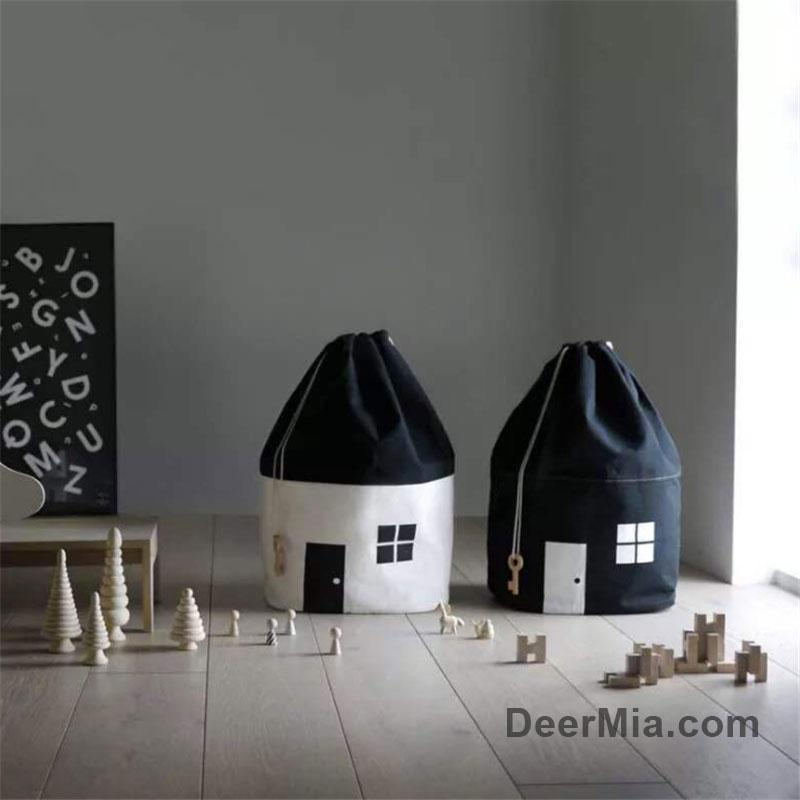 Little House Design Drawstring Storage Bag-Homeware