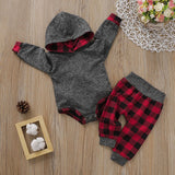 Baby Boy Trendy Solid Long-sleeve Hooded Bodysuit and Plaid Pants Set