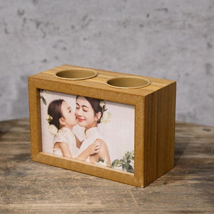 Wooden double pen holder or green plant photo album setting table