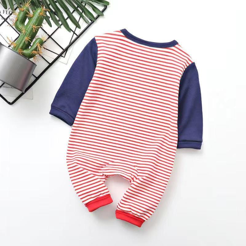 Baby Boy / Girl Long Sleeve Striped Letter Jumpsuit