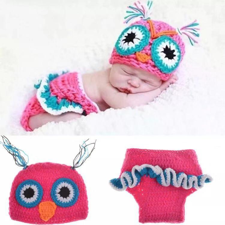 Owl photography props hat and pants set