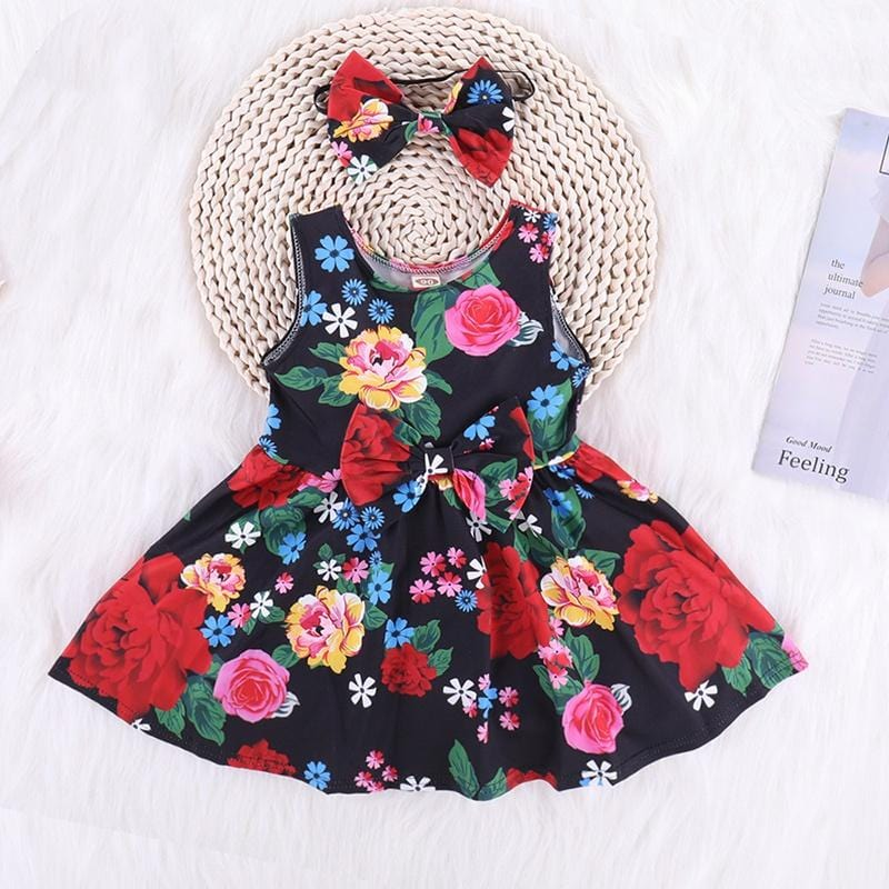 Beautiful Floral Sleeveless Dress and Headband for Baby and Toddler Girl