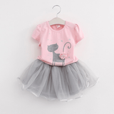 Lovely Short-sleeve Cat Print T-shirt and Tulle Skirt Set for Baby Girl and Girl
