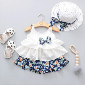 Adorable Bowknot Ruffle Sleeveless Top and Floral Shorts Hat Set for Baby Girl