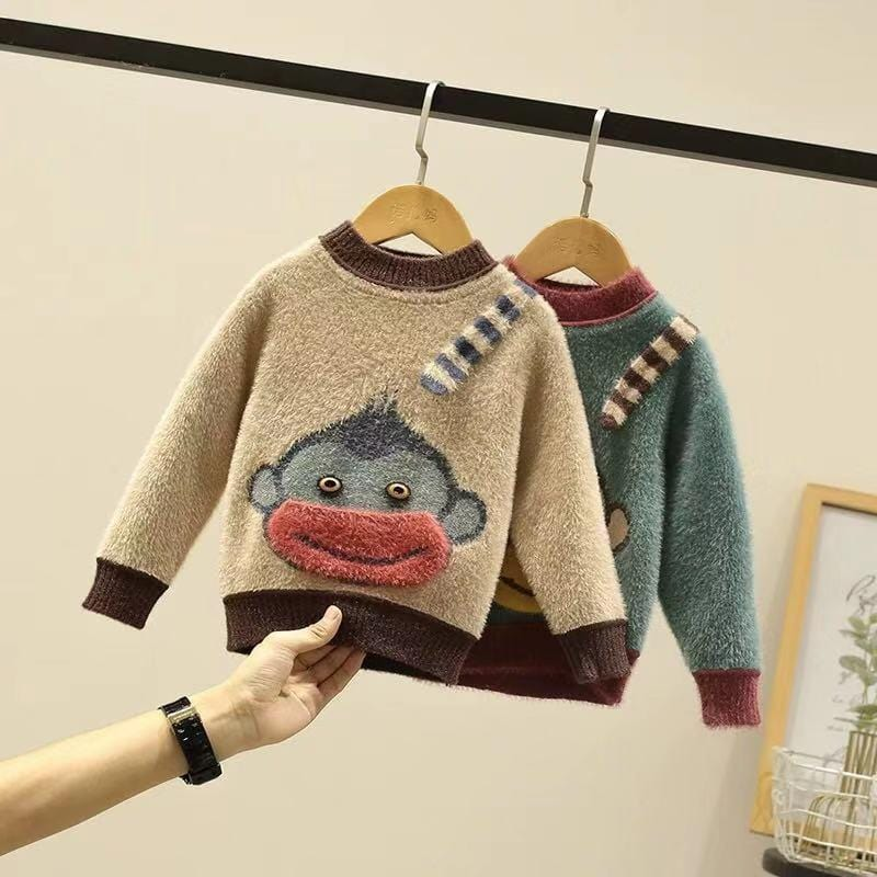 Baby monkey long sleeve warm multi-color tops