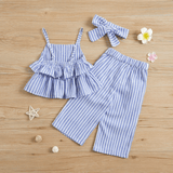 3-piece Solid / Striped Ruffled Camisole Top and Pants, Headband for Baby / Toddler Girl