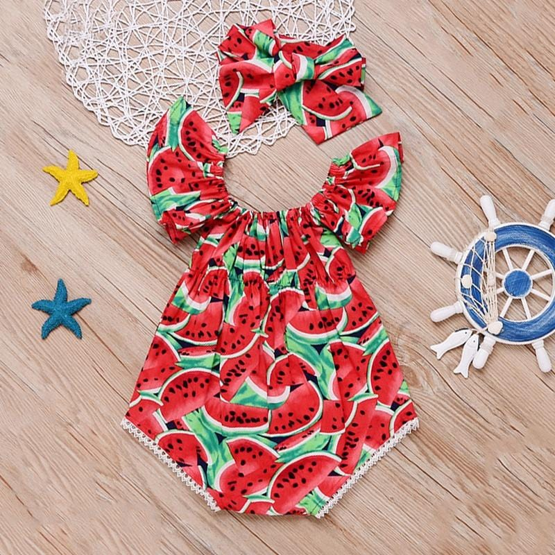 Sweet Watermelon Printed Ruffle-sleeve Bodysuits for Baby Girl