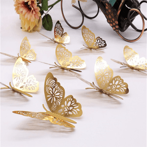 12Pcs 3D Creative Hollow Out Butterflies Wall Decor-Houseware