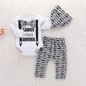 3-piece Baby Boy LADIES I HAVE ARRIVED Print Bow Bodysuit and Moustache Pants with Hat Set