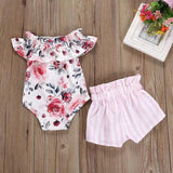 Baby Floral Bodysuit and Striped Shorts Set