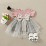 Baby Girls Bow Blinking Mesh Dress