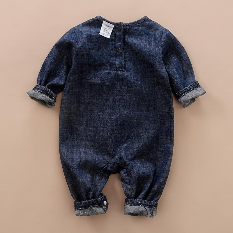 Baby Boy / Girl Denim Style Elephant Print Long-sleeve Jumpsuit