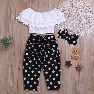 3-piece Baby / Toddler Fashionable Off Shoulder Pompon Flounced Top and Polka Dots Pants Set
