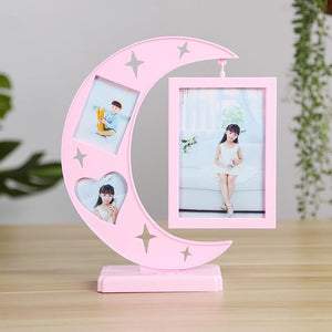 Lovely moon shape design photo frame (hanging photo frame can be rotated)