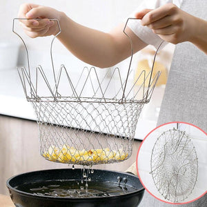 1pc Foldable Stainless Steel Retractable Oil Drain Net