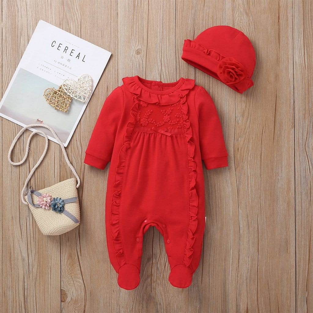 Ruffle Footie Jumpsuit with Hat Set For Baby Boy / Girl