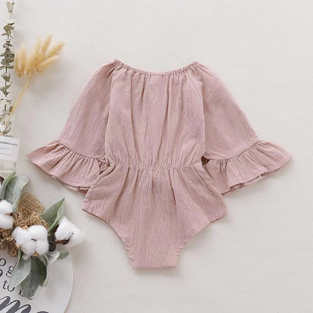 Baby Girl Fashionable Solid Style Bowknot Decor Long-sleeve Romper