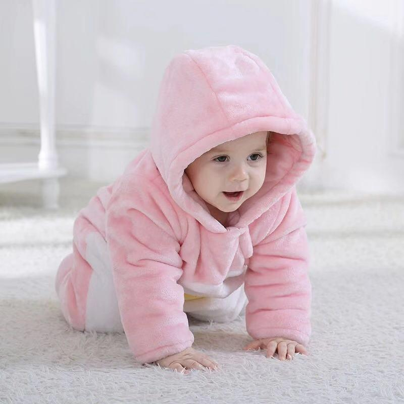 Pink baby cotton plus velvet jumpsuit
