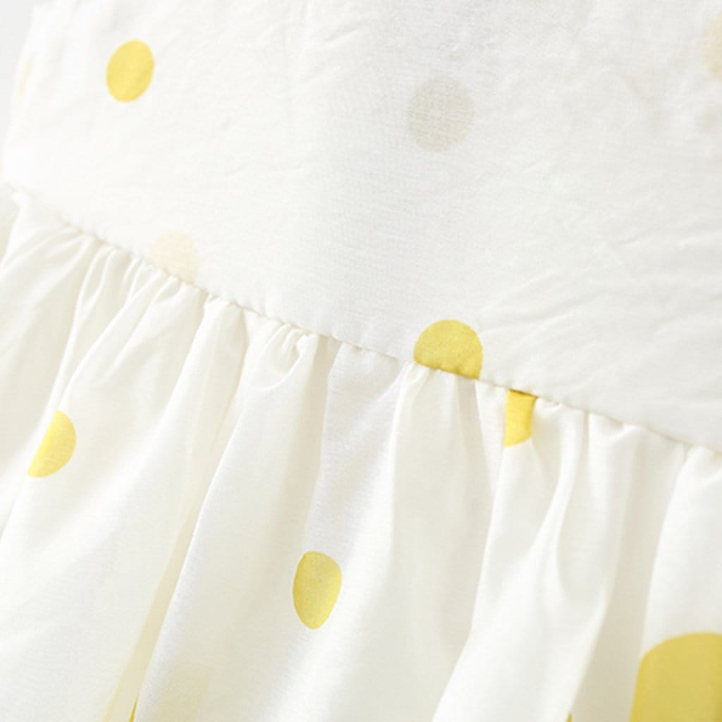Baby Flower Decor Polka Dot Dress with Hat