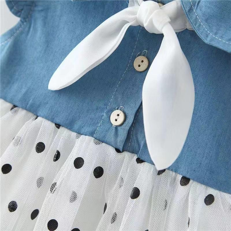 Baby Front Big Bow Polka Dot Dress with Hat