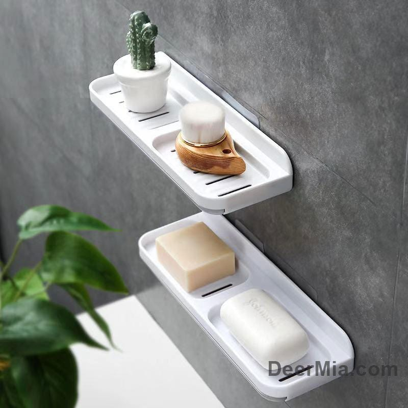 Bathroom sticky wall-mounted drain soap box-Homeware