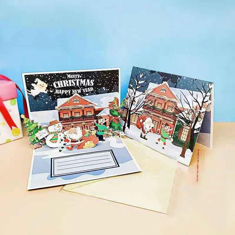 Merry Christmas Cards Christmas Tree Winter Gift Pop UP Cards Christmas Decoration  Stickers Laser Cut New Year Greeting Cards