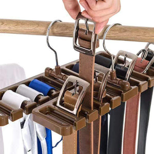 Multifunctional belt and tie storage rack