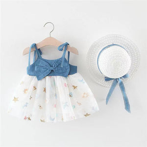 Baby girl bow denim lace princess skirt + hat