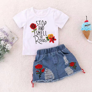 Baby Rose Tee and Ripped Denim Skirt Set