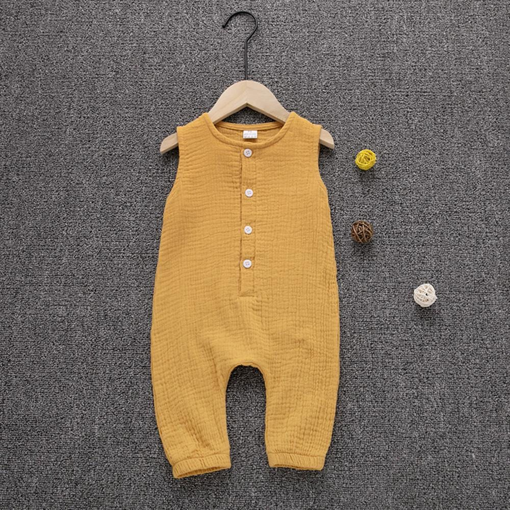 Baby Buttons Front Sleeveless Cotton Jumpsuit