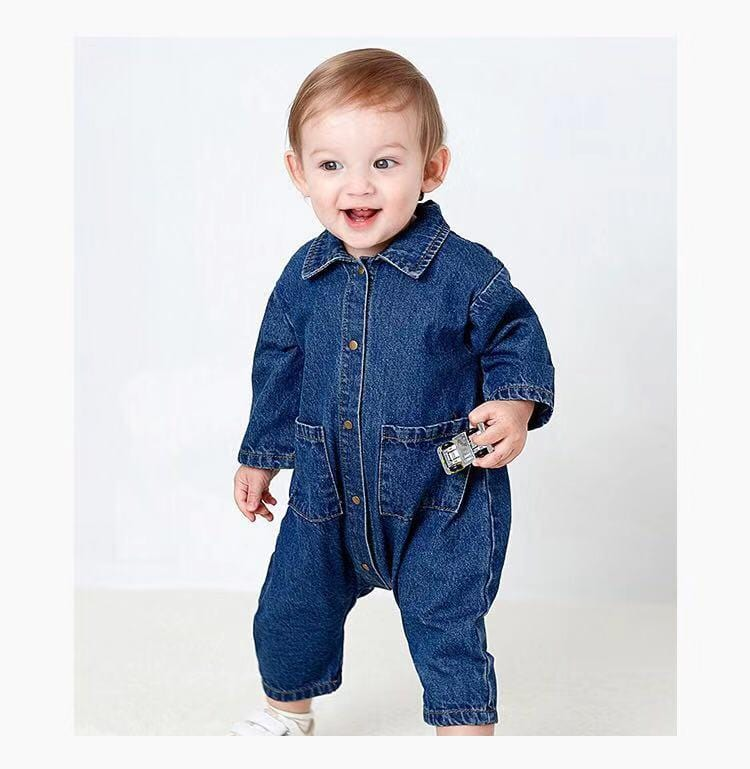 Baby long sleeve denim jumpsuit