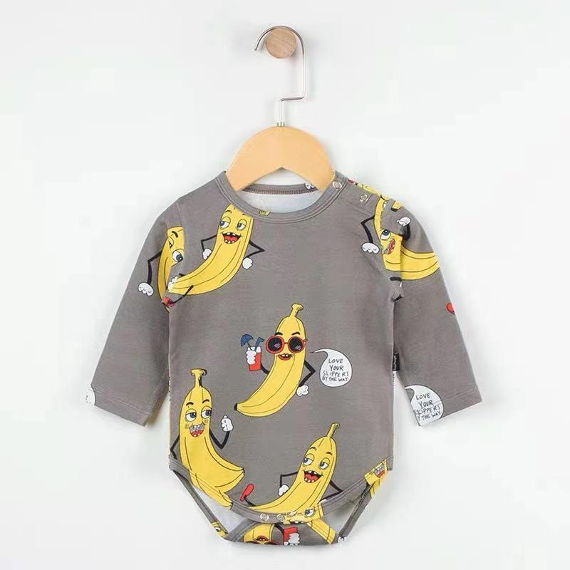 Baby Boy / Girl Banana Print Long Sleeve Cotton Jumpsuit