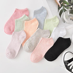 10 Pairs - Multicolored Solid Ankle Socks