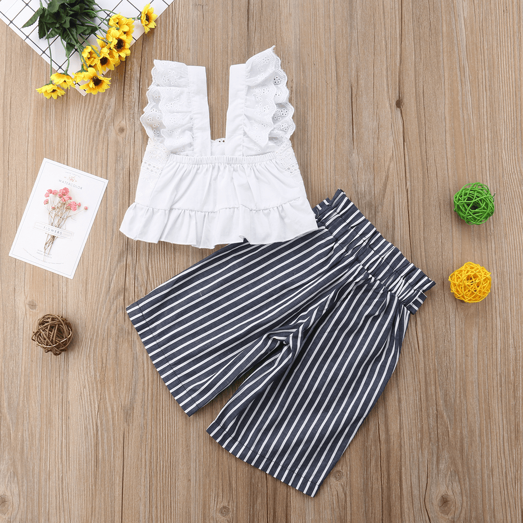 2-piece Baby Ruffle Crop Top and Striped Pants Set