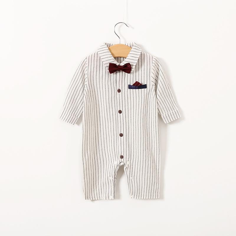 Long sleeve cotton baby gentleman clothes with tie
