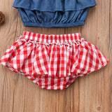 3-piece Denim Checkered Outfit