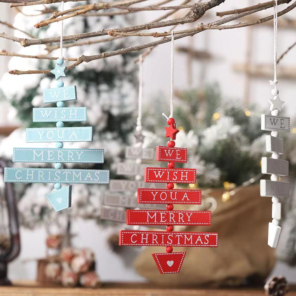 Christmas decorations - wooden English letters and wooden pendants
