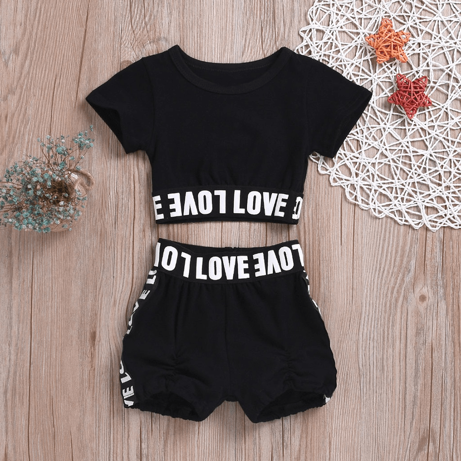 Baby Letter Print Top and Shorts Set
