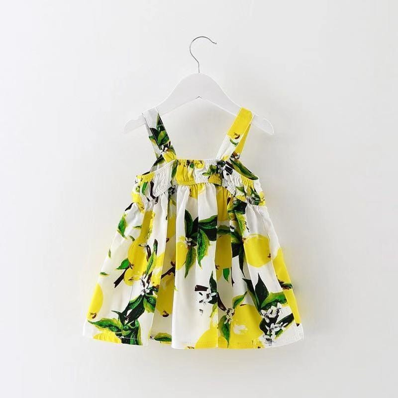 Stylish Lemon Bow Detail Slip Dress for Baby and Toddler Girl
