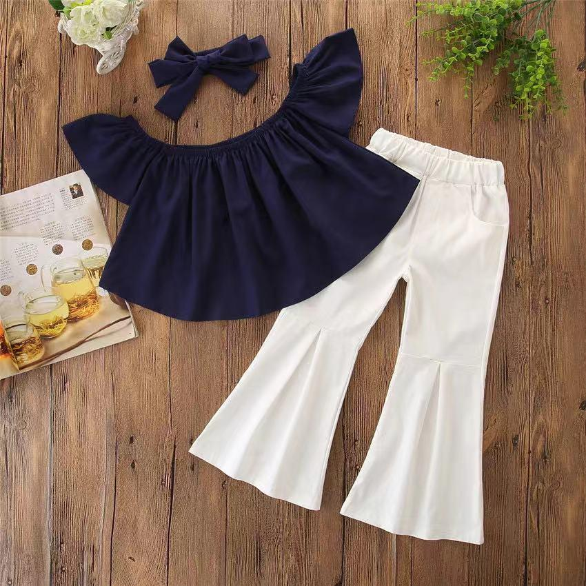 Baby Off Shoulder Ruffle-sleeve Cute Top Bellbottom Pants Bowknot Headband 3-piece Set Solid Color
