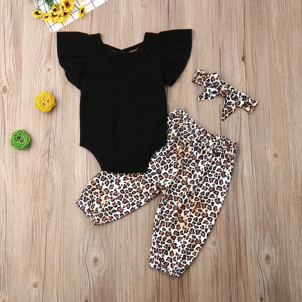 Girl baby leopard print set