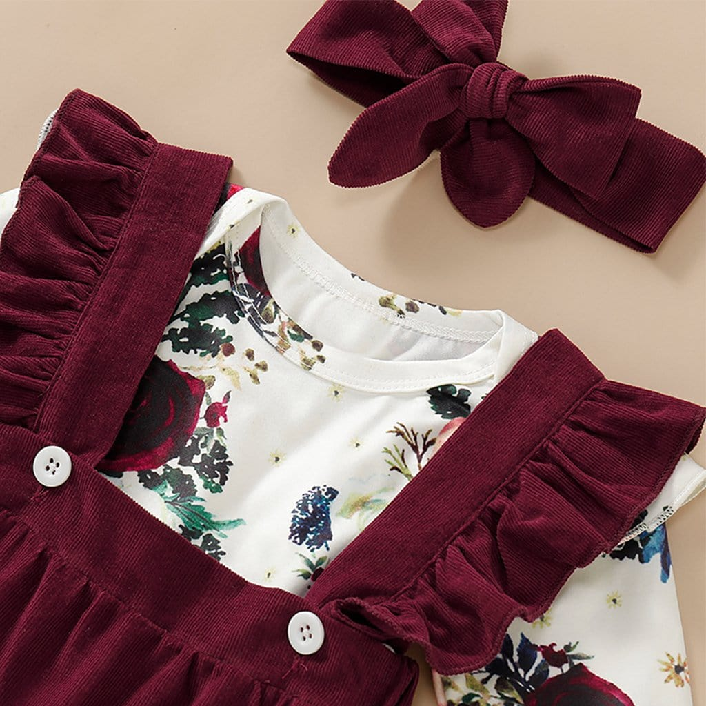 3-piece Baby / Toddler Floral Print Bodysuit, Suspender Skirt and Headband Set