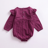 Sweet Ruffled Solid Long-sleeve Bodysuit for Baby Girls