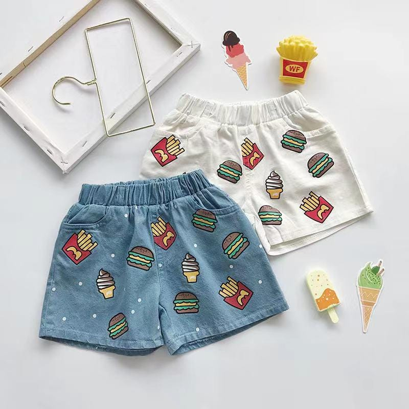Toddler Boy / Girl cartoon burger print denim shorts