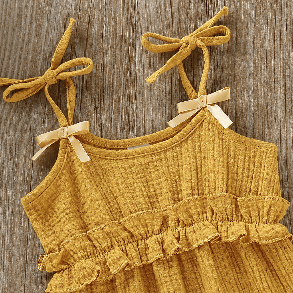 Baby Girl's Solid Ruffled Strap Jumpsuit